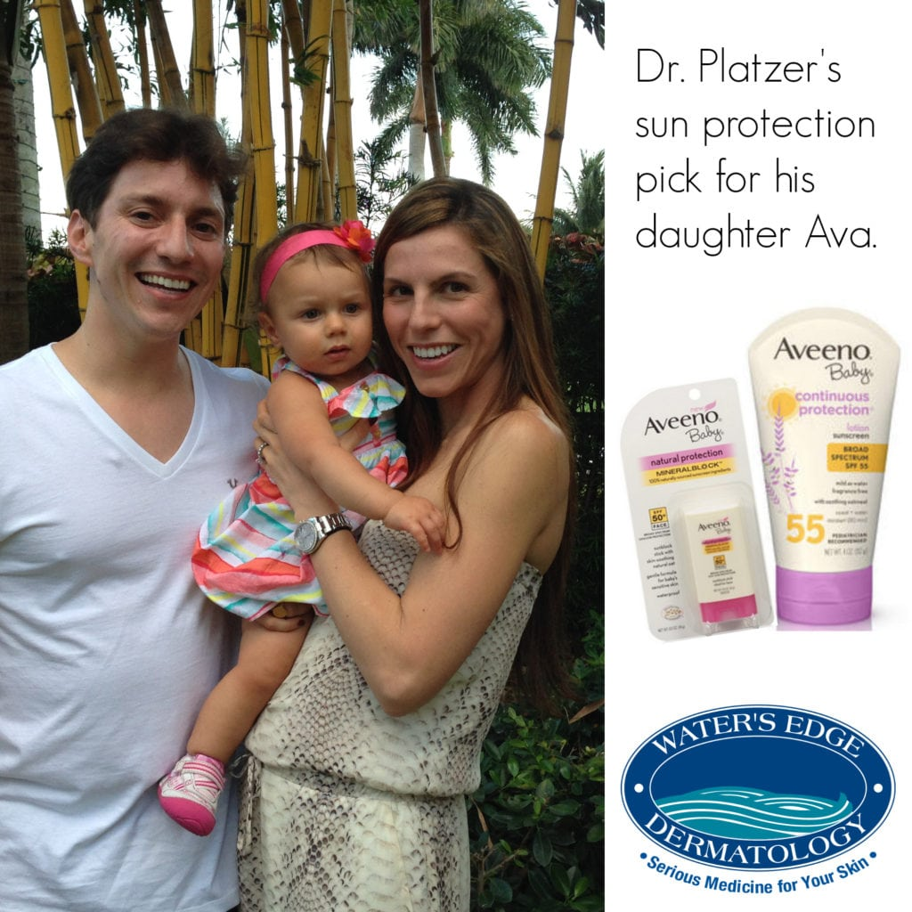 Dr. Platzer likes Aveeno's products for his daughter, but any sunscreen thoroughly applied will do the trick!
